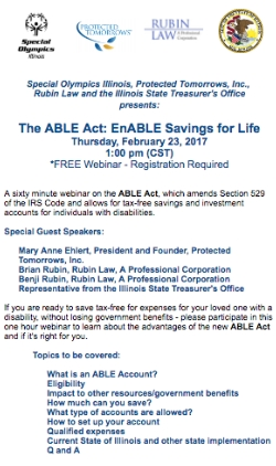 Register for Online Webinar about the ABLE Act on 02/23